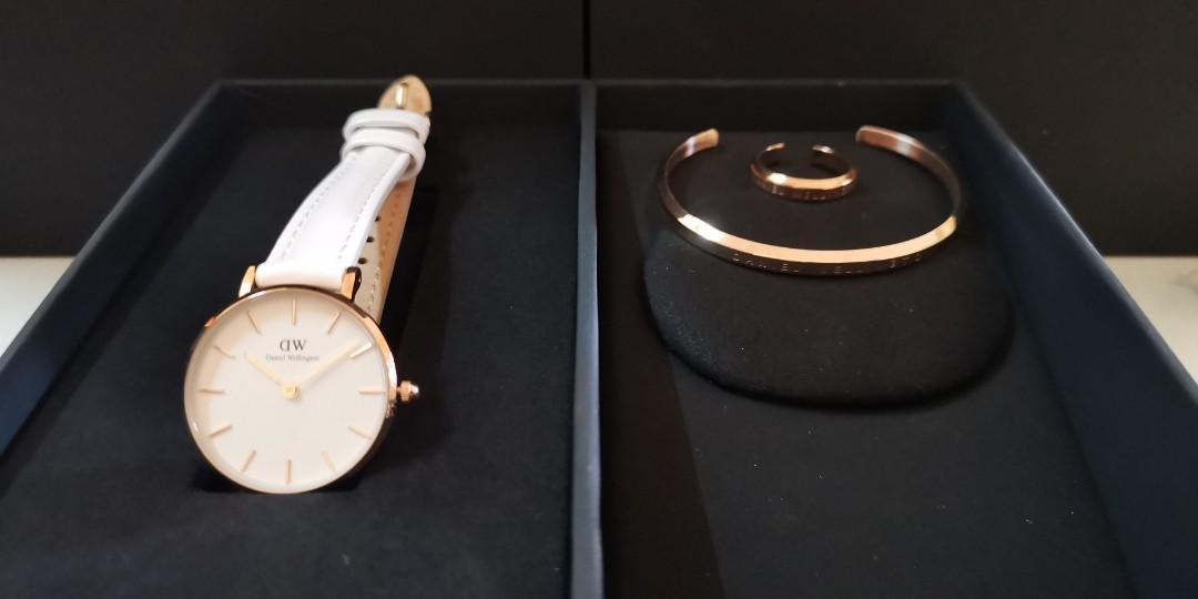 Premium Quality DW RG/WHL WHITE Small-Size 28mm Quartz Ladies Watch Wrist Watch + Bangle + Ring