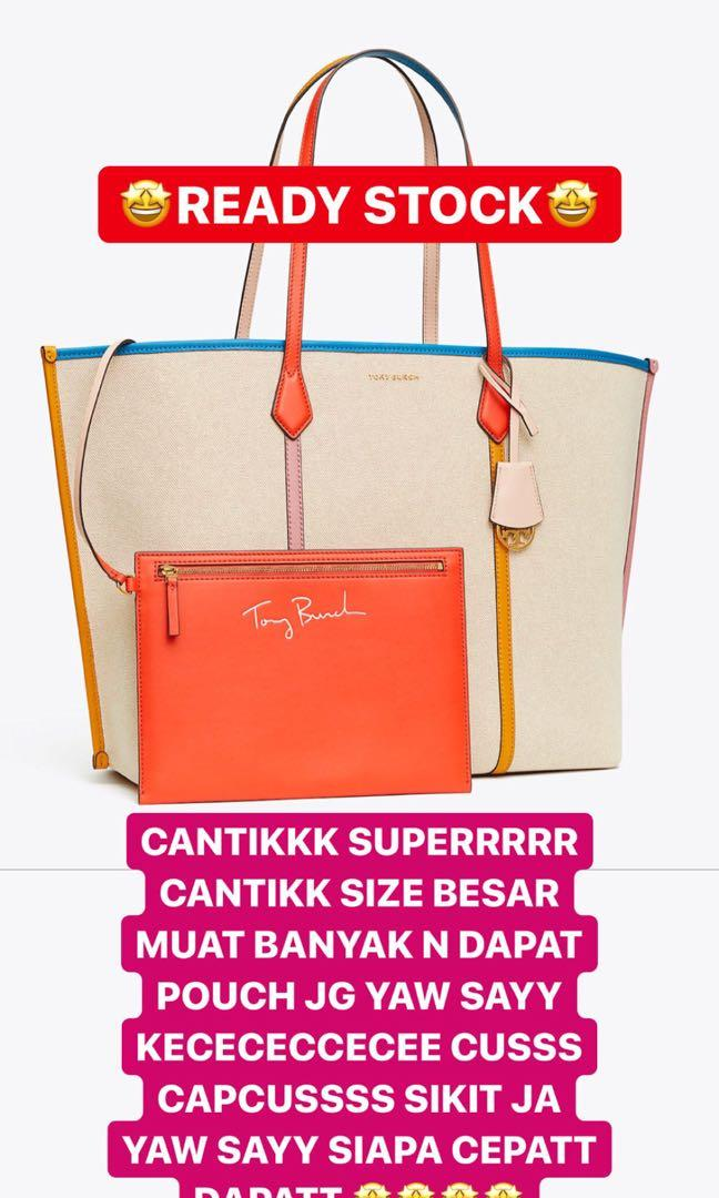 READY STOCK TORY BURCH PERRY LARGE CANVAS TOTE BAG CAKEBB BANGETTT 🤩🤩