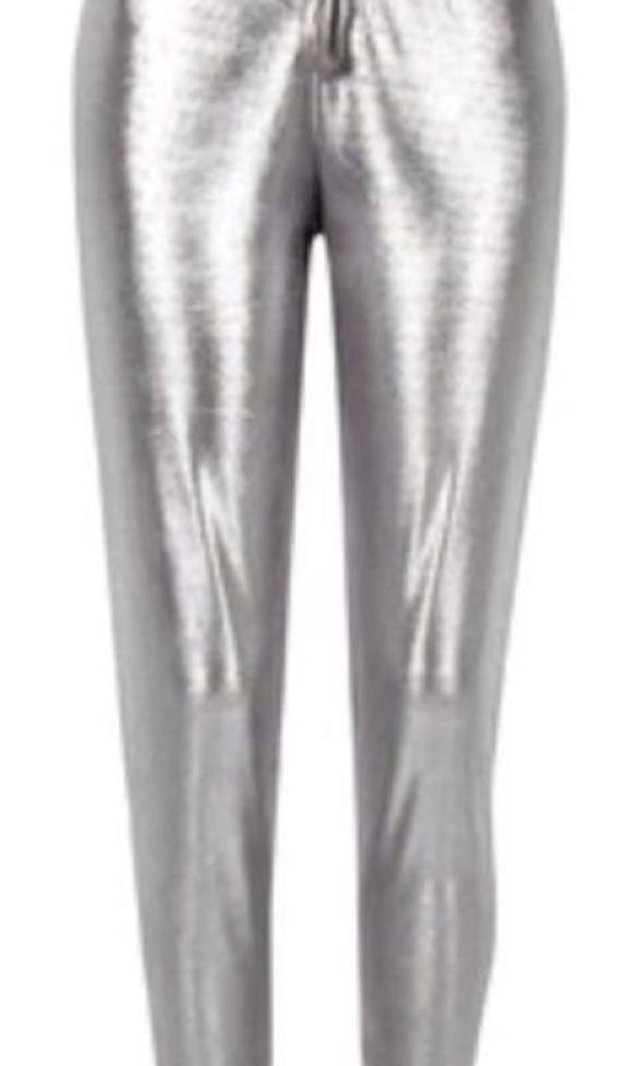 River Island Silver Metallic Jogger Pant NWT Size 12