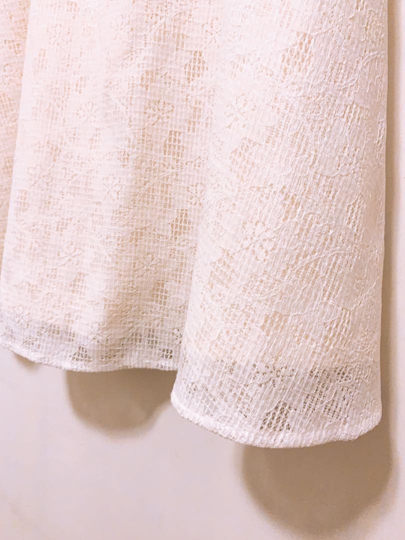 Rope picnic 日本購入,白色蕾絲花紋裙,有內裡