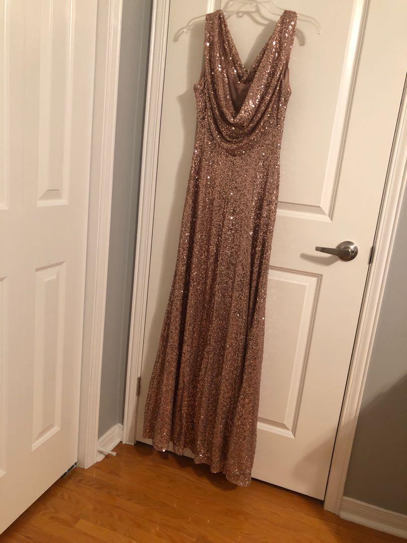 Rosegold sequin long dress size 8/evening gown/bridesmaid dress