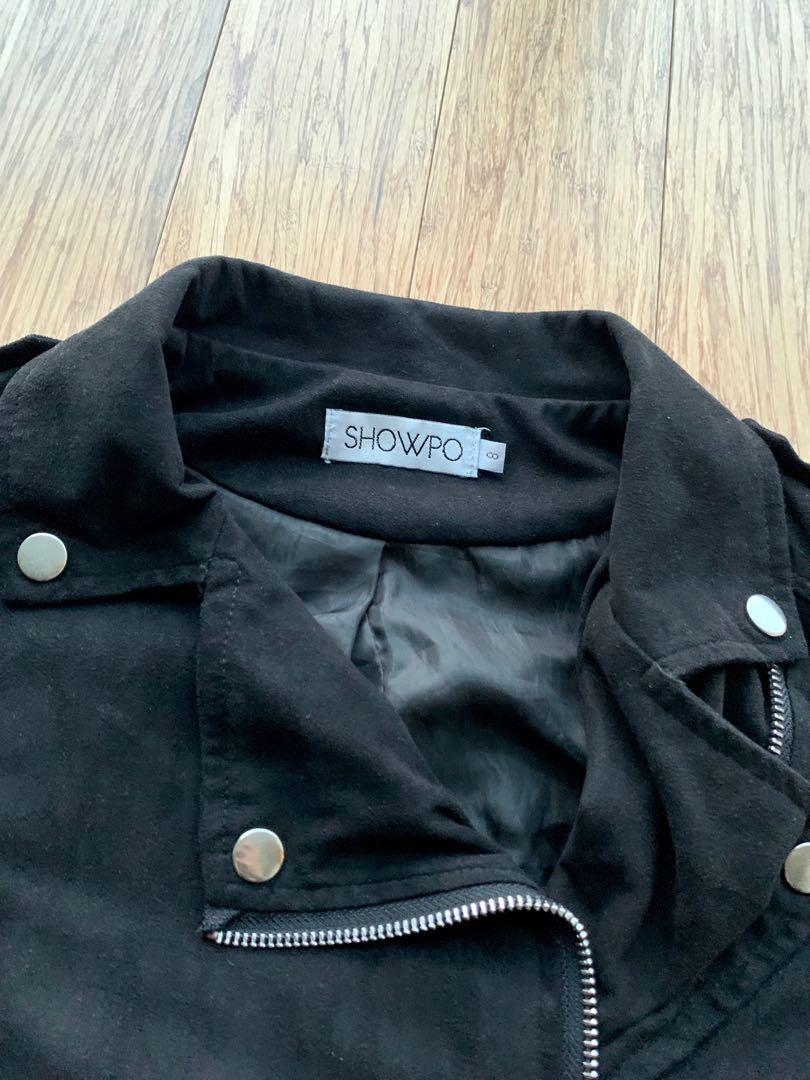 Showpo The Good Life Black Suede Jacket (suedette)