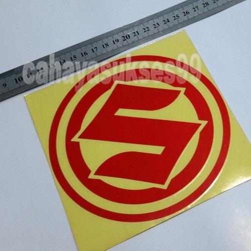 Sticker Cutting Motor Logo SUZUKI Merah RED Bulat Diameter 15cm Big Size Stiker Body Motor Striping Reflective New Ready Stock Terlaris