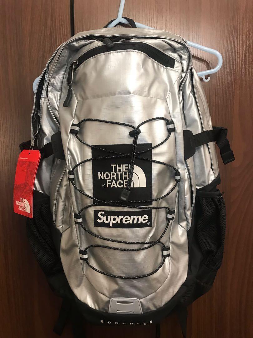 Supreme X The North Face Metallic Borealis Silvermetallic OS Backpack Silver New