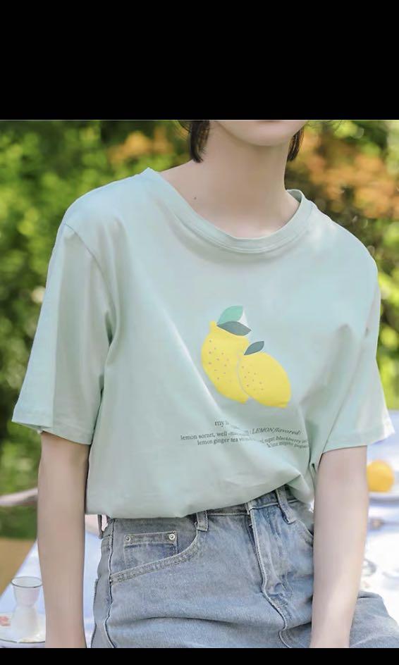 正韓檸檬薄荷綠短T