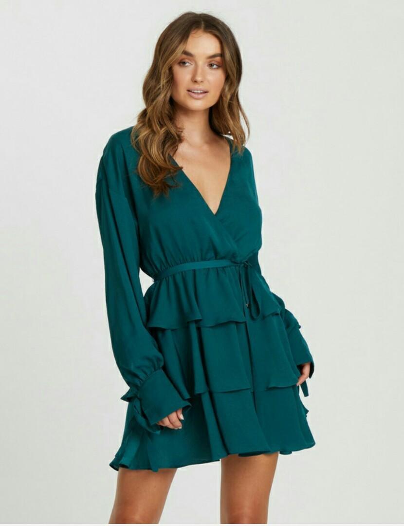 TUSSAH Myriam Ruffle Dress Emerald,  size 16 BRAND NEW RRP $119.95