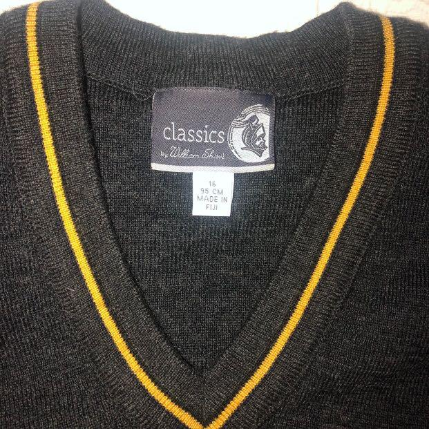 VINTAGE V-NECK GREY & YELLOW STRIPED PULLOVER JUMPER WOMEN'S SIZE 14-16🔥