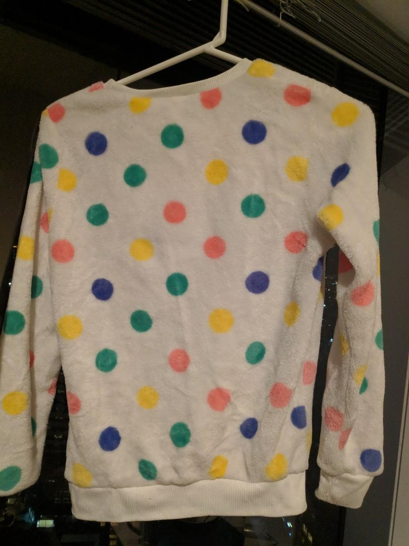 Warm White Polka Dot Fleece Furry Jumper