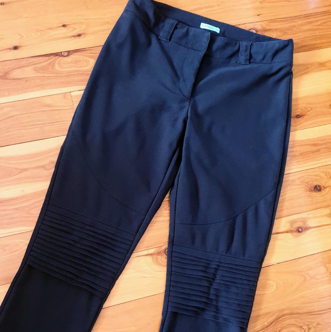 Women's size 36 'KOOKAÏ' Stunning black cigarette pants knee details - AS NEW