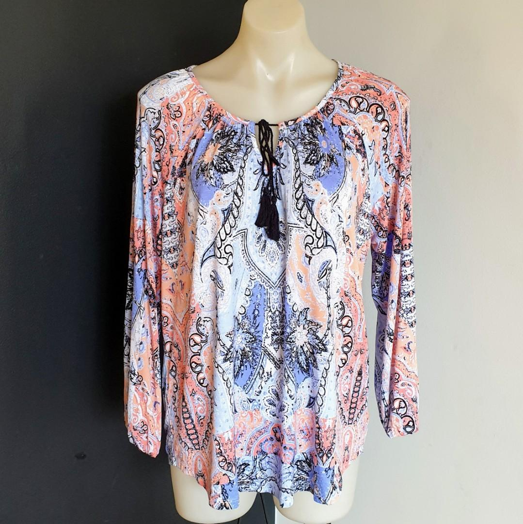 Women's size M 'SUZANNE GRAE' Gorgeous multicoloured long sleeve blouse - AS NEW