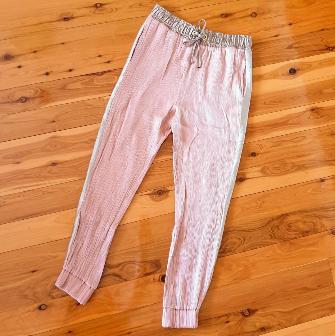 Women's size M 'ZARA' Gorgeous elastic ankle drawstring crepe pants - AS NEW