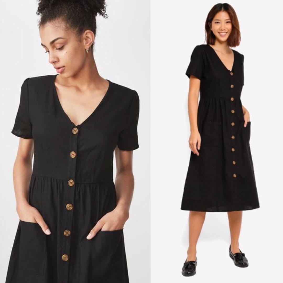 Xxs Cotton On V Neck Button Down Dress In Black Women S Fashion Clothes Dresses Skirts On Carousell