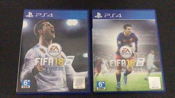 BD PS 4 FIFA 16 dan 18 (Terpisah)