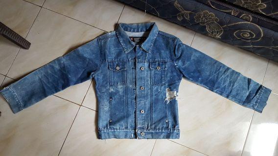 Jaket Jeans Nevada Blue Biru Ripped Sobek Size XS
