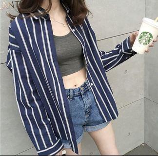 韓版條紋襯衫