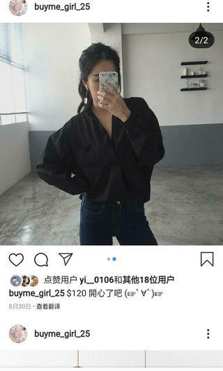 黑色優雅長袖襯衫