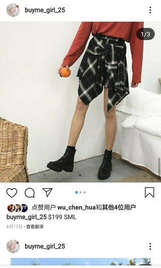 韓國顯瘦外套綁帶格子裙