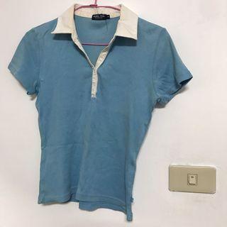 出清-HANG TEN天空藍短袖合身POLO衫 素面 素色上衣 T恤 顯瘦
