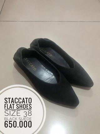 STACCATO Flat Shoes size 38, black suede