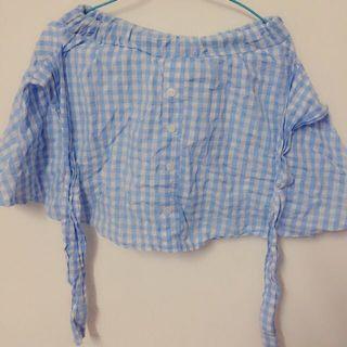降價出清👏水藍格子褲裙 適合m以下 購入rainbow shop
