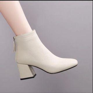 軟皮裸色踝靴5cm