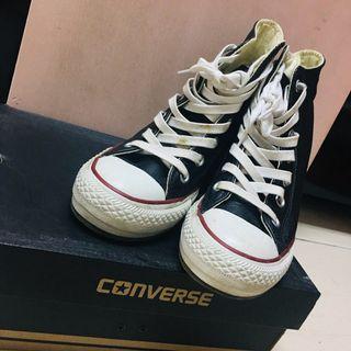 Converse 黑色高筒厚底增高皮款帆布鞋 All Star皮款休閒鞋 女鞋(價可議)