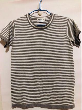 灰白條紋針織短袖