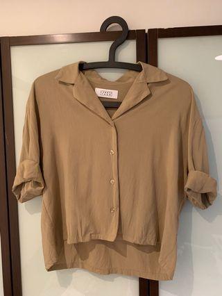 Lowrys Farm素色開襟短版半袖上衣襯衫