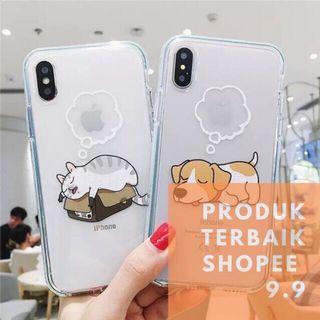 Case antiknock iphone cat&dog