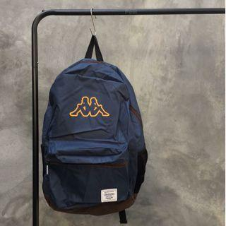 Kappa Bagpack Navy Brown Logo Yellow / Tas Kappa Navy