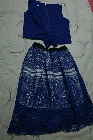 兩件式洋裝 氣質藍 含運