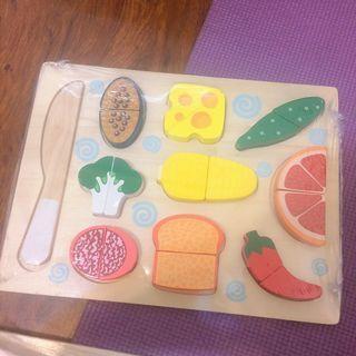 兒童木質拼板切切樂  三款可選 蔬菜 水果日本料理