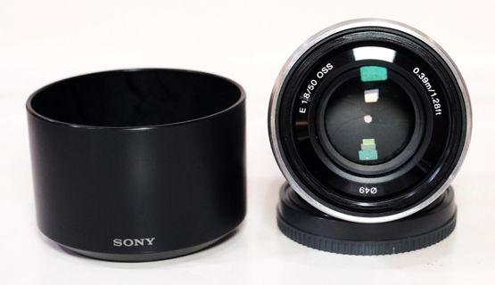 Sony E 50mm F.1.8 OSS Silver Lengkap Box