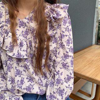 布料超讚紫色碎花上衣