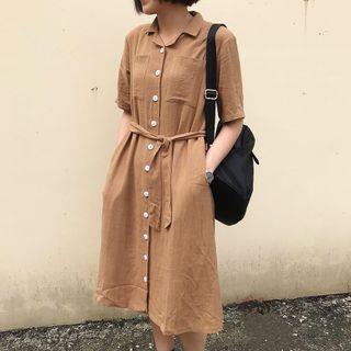 9.amez 類似款 翻領排釦厚棉麻洋裝