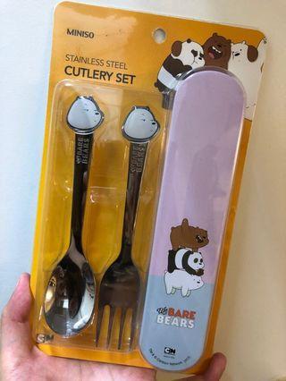 咱們裸熊不鏽鋼叉勺餐具套裝