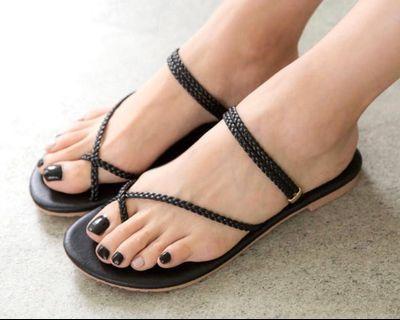 編織涼鞋(全新黑色)36碼ㄧ雙