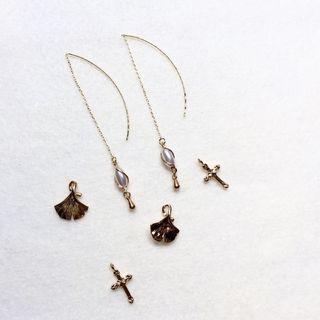 14KGF 鍍14k金珍珠耳線 銀杏耳線 十字架耳線 耳環