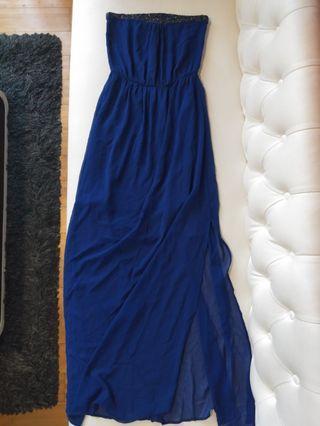 Zara Dress Kemben Biru, semi long dress.