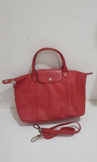 Longchamp Cuir medium red