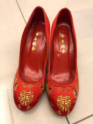 訂婚文定喜宴 紅色囍字鞋 高跟鞋 龍鳳袍 秀禾服 旗袍