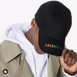 Balenciaga Embroidered canvas baseball hat 彩虹 logo 帽