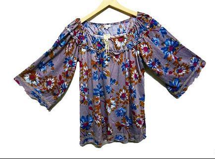 #RamadanSale Baju Import Murah - Blouse Sabrina Flower / Atasan Bunga