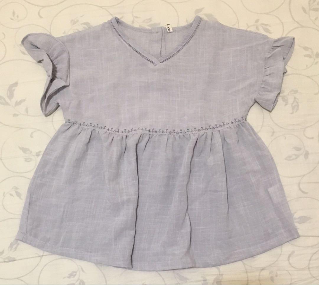 粉紫藍色麻棉衫