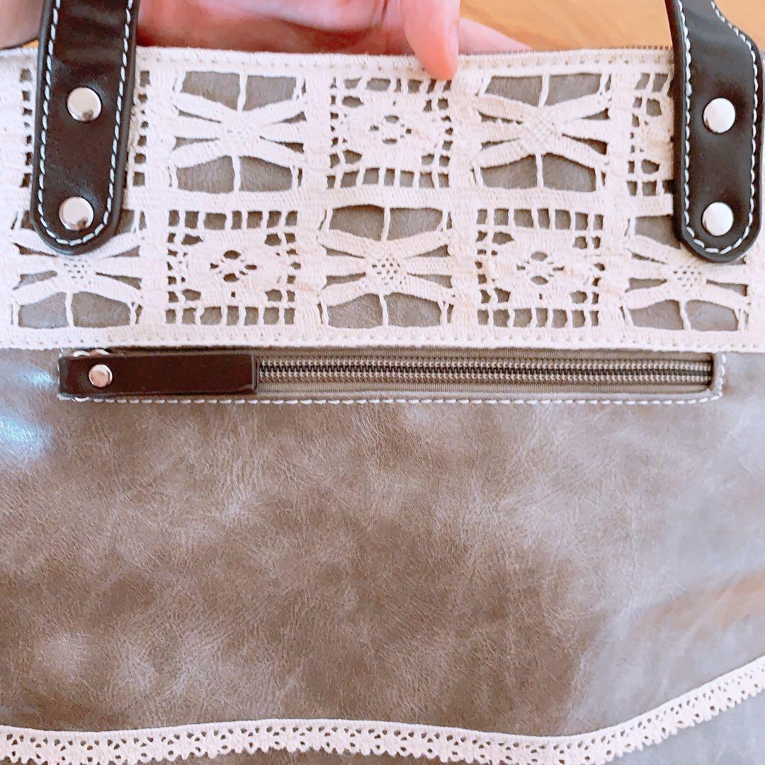 淺咖啡蕾絲裹邊手提包