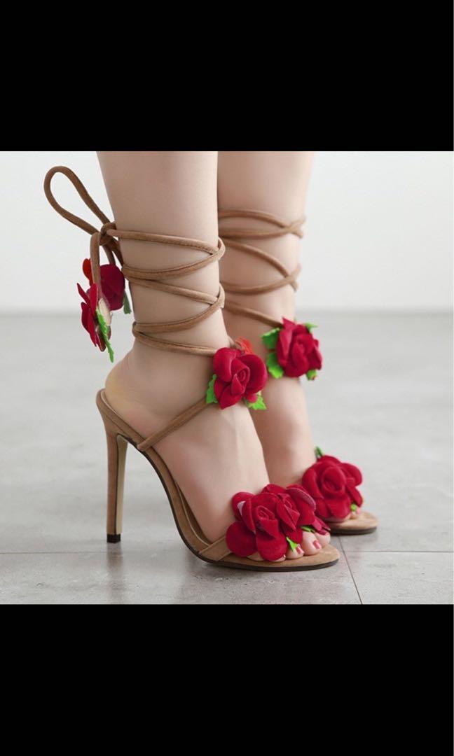 玫瑰花朵交叉綁帶鞋
