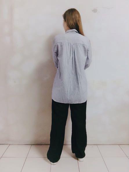 日系花藝刺繡 藍白直條紋棉質襯衫#五折清衣櫃
