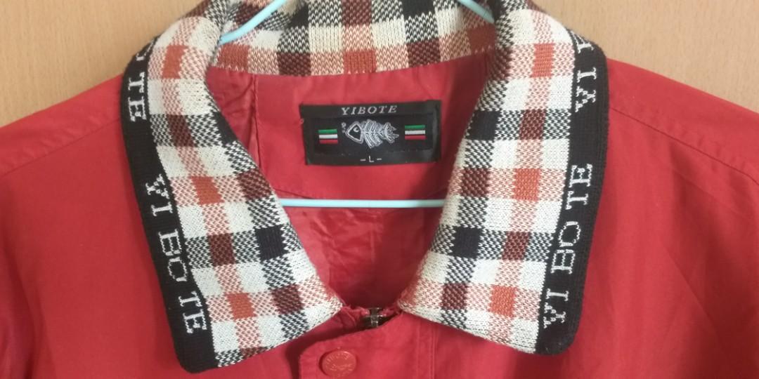 古著 紅色防風格子領外套
