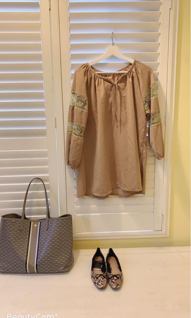 我的小巴黎 蕾絲拼接襯衫 寬鬆有型 長版蕾絲袖襯衫