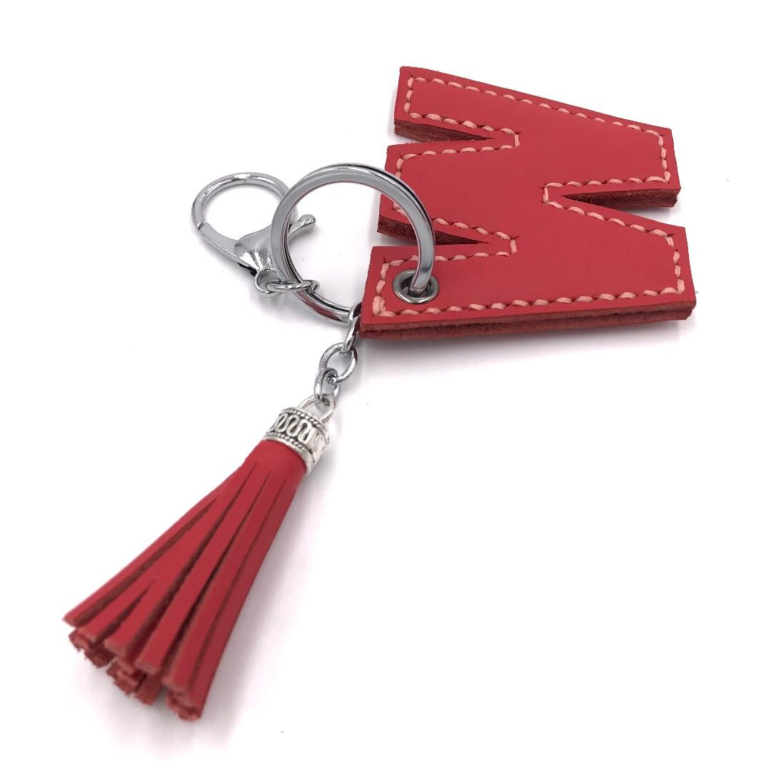 (客製分享圖) 全手工 真皮 W字母流蘇鎖匙扣 (紅色)